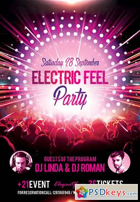 Electric Feel Party Flyer PSD Template + Facebook Cover » Free ...