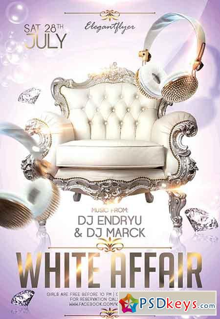 White Affair Party Flyer PSD Template + Facebook Cover