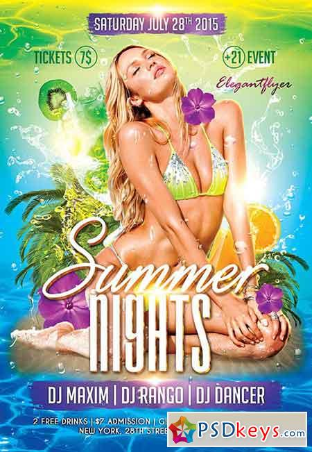 Summer Nights Flyer PSD Template + Facebook Cover