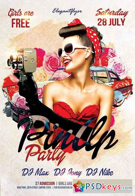 Pin Up Party Flyer PSD Template + Facebook Cover