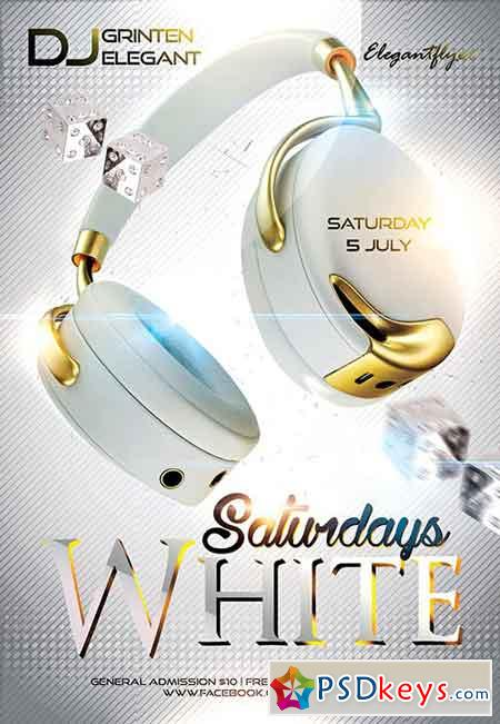 White Saturday Flyer PSD Template + Facebook Cover