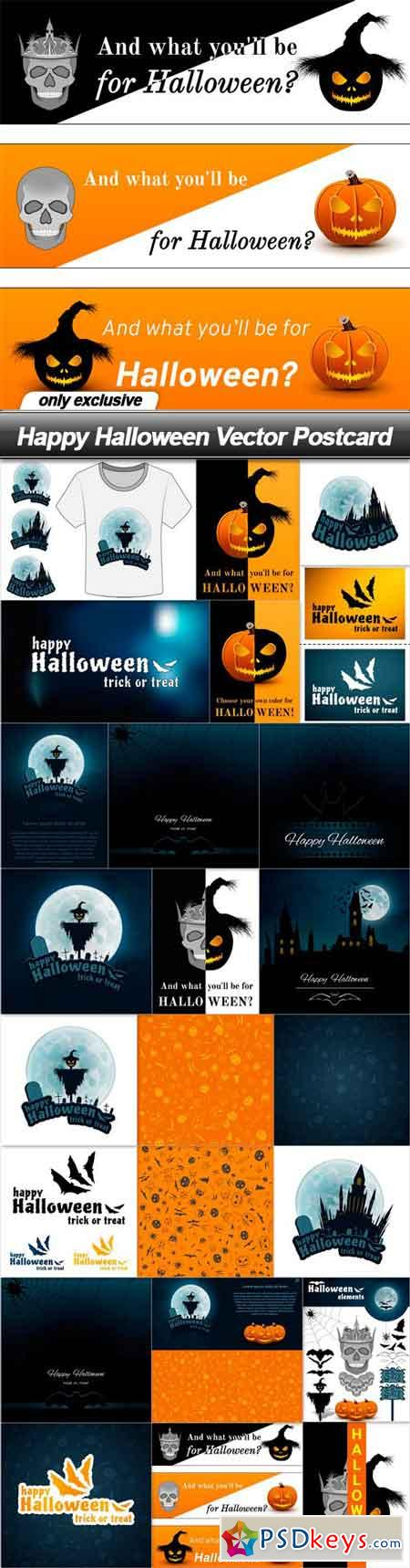 Happy Halloween Vector Postcard - 24 EPS