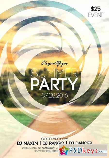 Summer party 6 Flyer PSD Template + Facebook Cover