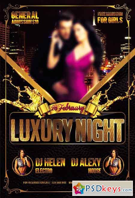 Luxury Night Party Flyer PSD Template + Facebook Cover