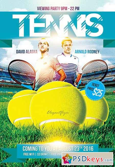 Tennis Game Flyer PSD Template + Facebook Cover