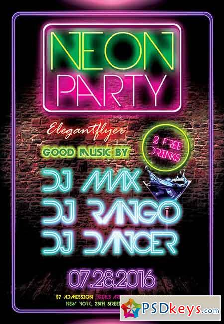 Neon Glow Party Flyer PSD Template + Facebook Cover