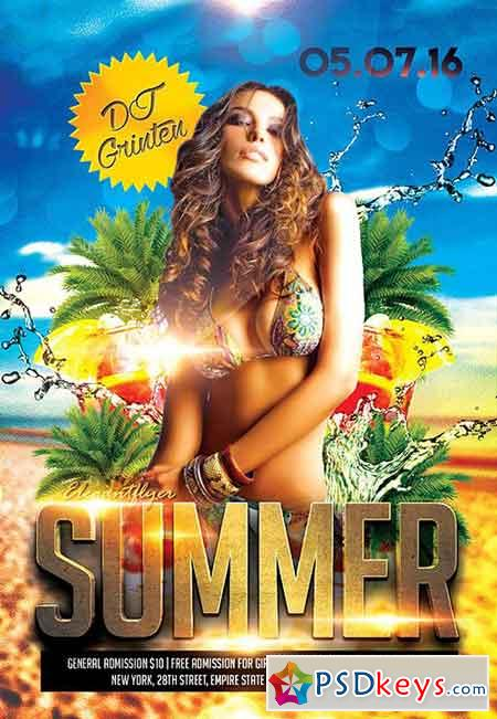 Summer Party 5 Flyer PSD Template + Facebook Cover