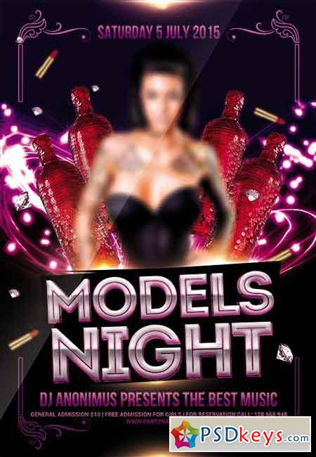 Models Night Flyer PSD Template + Facebook Cover
