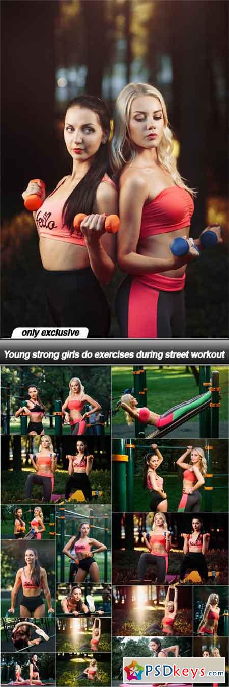 Young strong girls do exercises during street workout - 18 UHQ JPEG