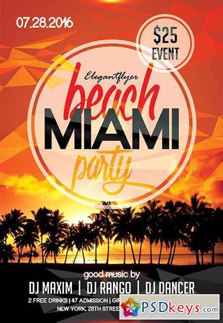 Miami Beach Party Flyer PSD Template Facebook Cover
