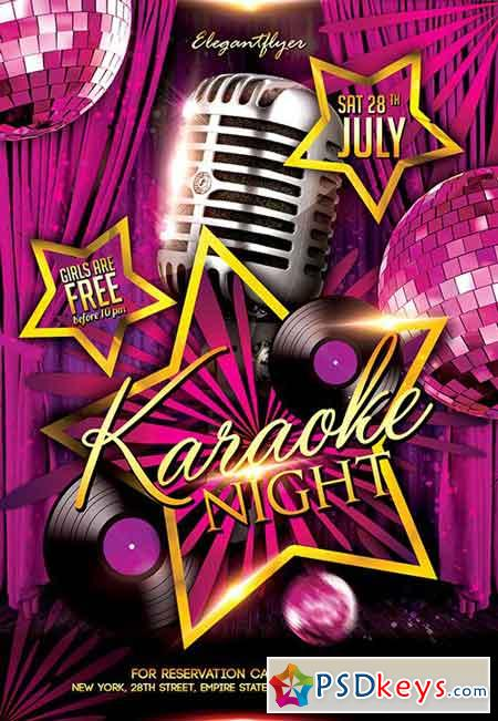 Karaoke Night Flyer Psd Template  Facebook Cover  Free Download