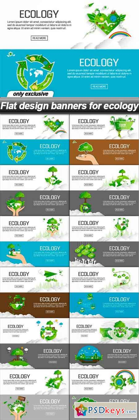 Flat design banners for ecology - 12 EPS
