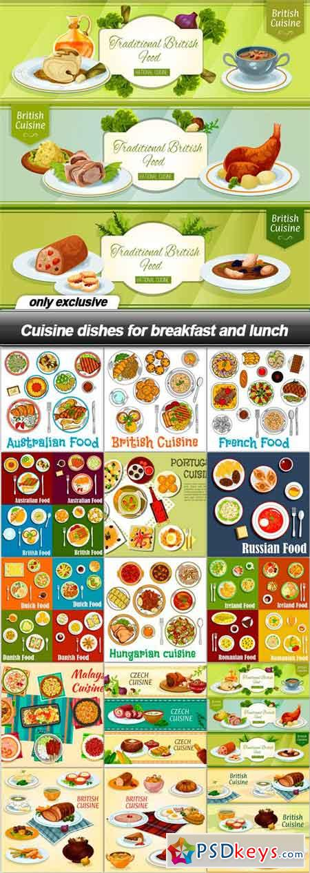 Cuisine dishes for breakfast and lunch - 15 EPS