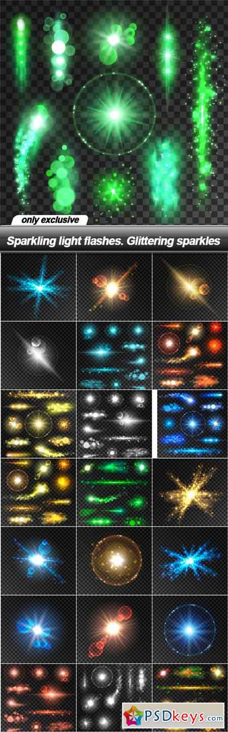 Sparkling light flashes. Glittering sparkles - 22 EPS