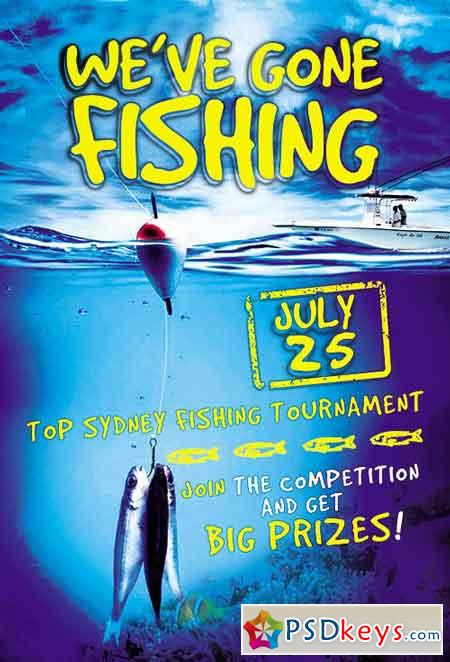 Fishing Contest Flyer PSD Template + Facebook Cover