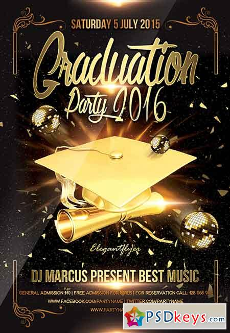 Graduation Party Flyer Psd Template + Facebook Cover » Free