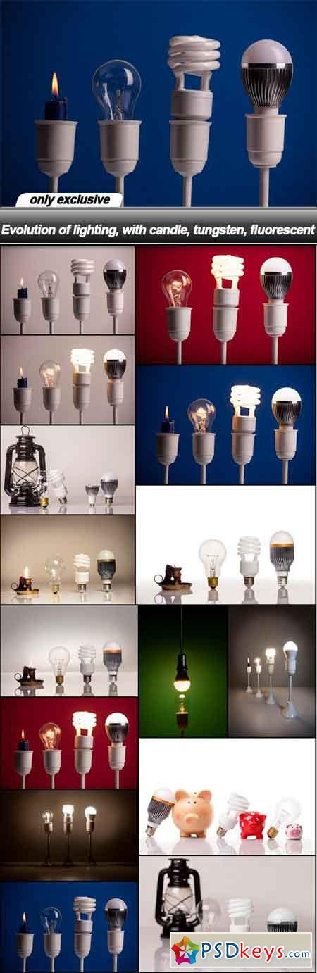 Evolution of lighting, with candle, tungsten, fluorescent - 15 UHQ JPEG