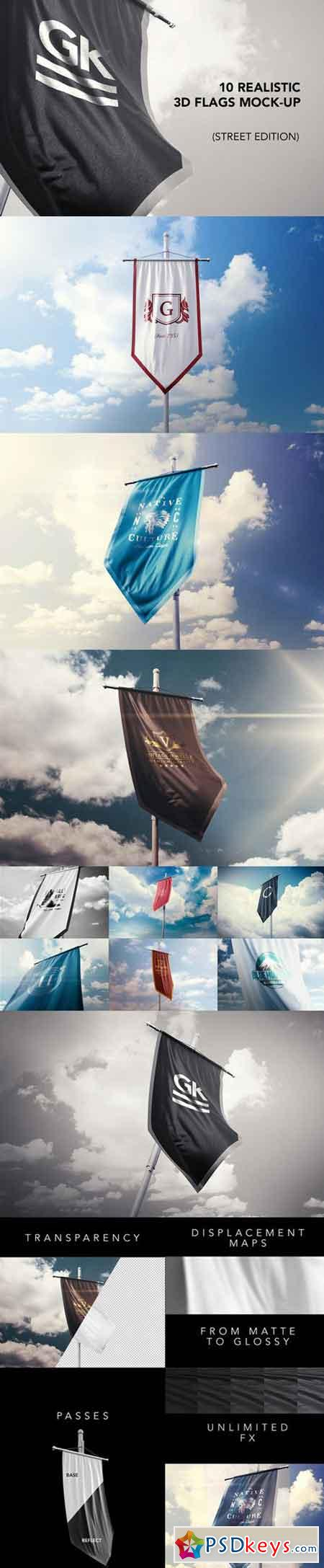 10 Realistic 3D Flag Mock Up`s v.2 498579