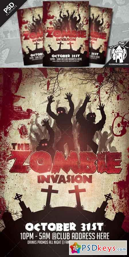 The Zombie Invasion Flyer Template   Free Download Photoshop