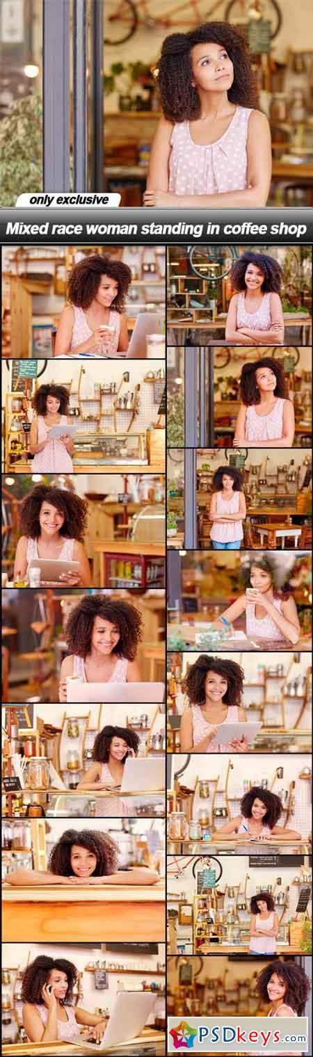 Mixed race woman standing in coffee shop - 15 UHQ JPEG
