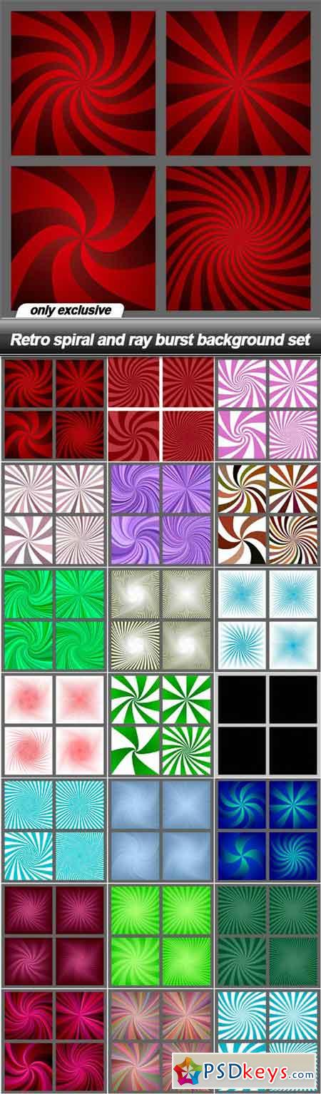 Retro spiral and ray burst background set - 21 EPS