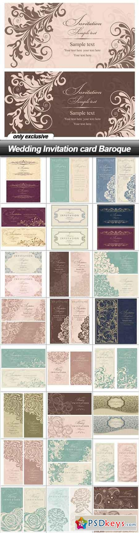 Wedding Invitation Card Baroque 25 Eps Free Download