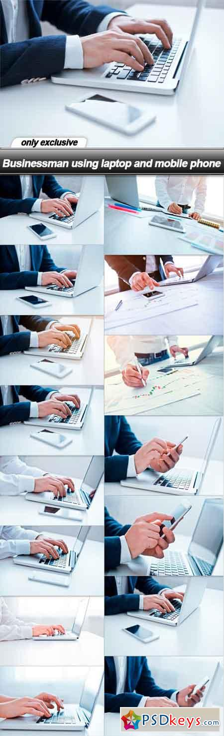 Businessman using laptop and mobile phone - 15 UHQ JPEG