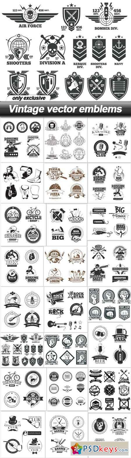 Vintage vector emblems - 24 EPS