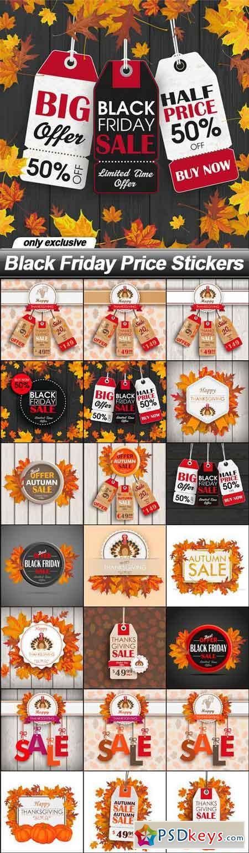 Black Friday Price Stickers - 21 EPS