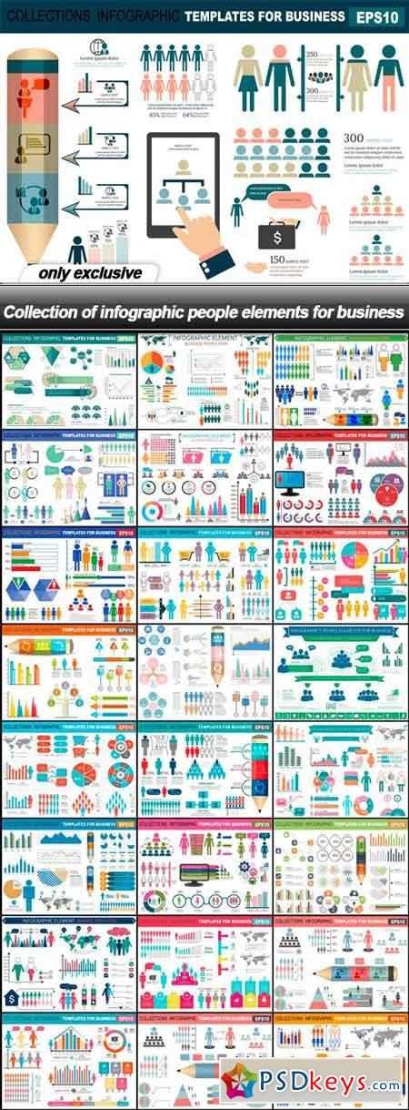 Collection of infographic people elements for business - 25 EPS