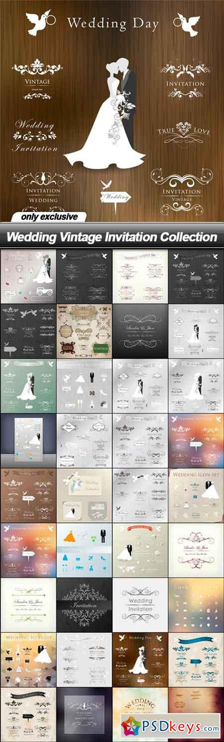Wedding Vintage Invitation Collection - 36 EPS