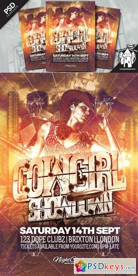 Cowgirl Showdown Flyer Template 919558 Free Download Photoshop – Showdown Flyer Template
