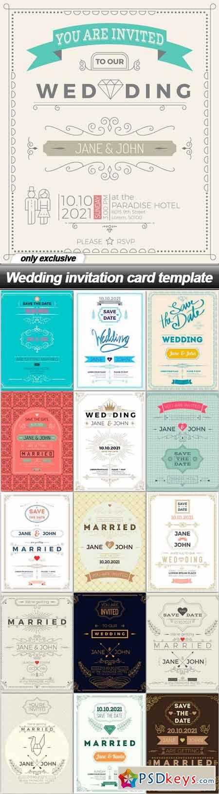 Wedding invitation card template - 16 EPS