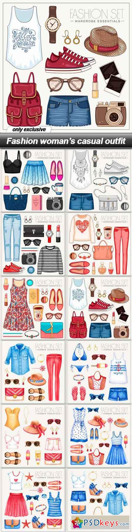 Fashion woman's casual outfit - 12 EPS