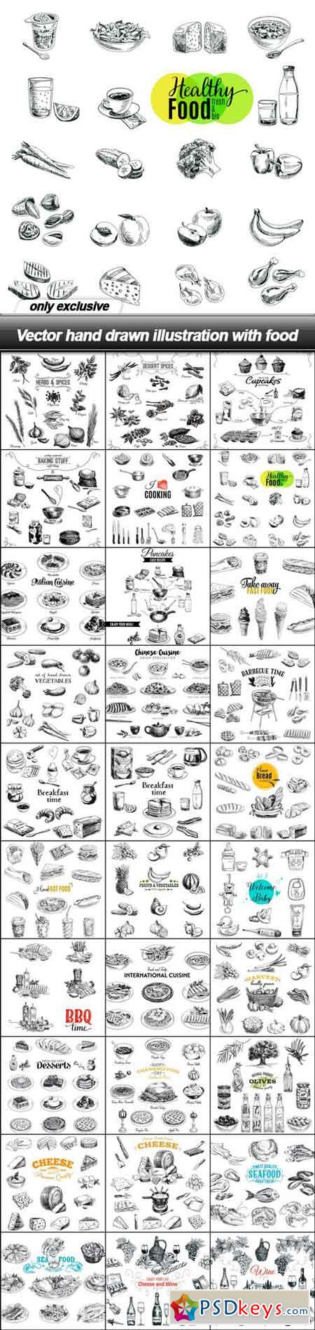 Vector hand drawn illustration with food - 30 EPS