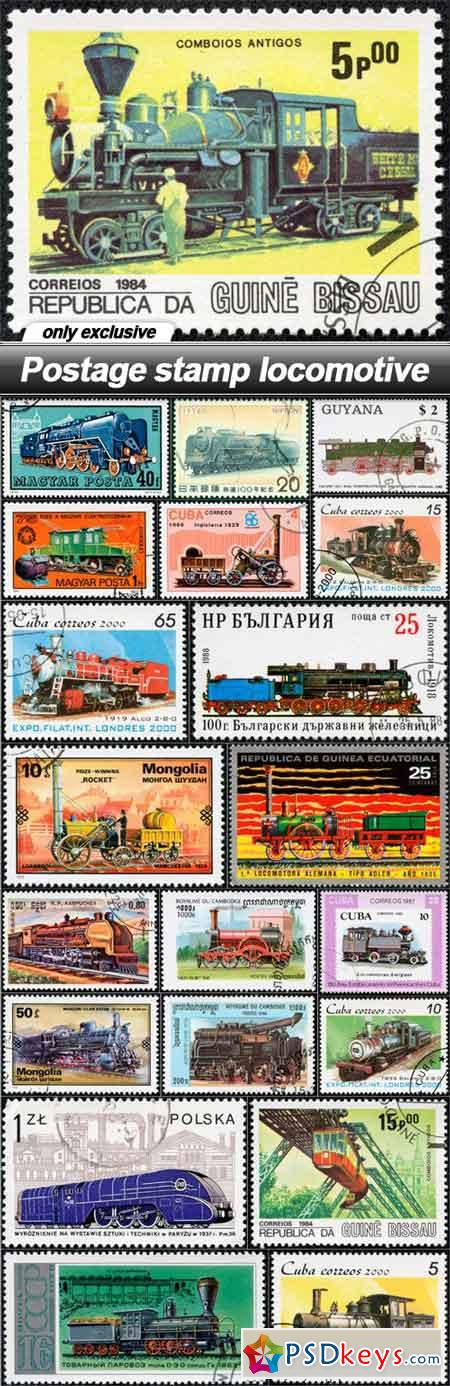 Postage stamp locomotive - 21 UHQ JPEG