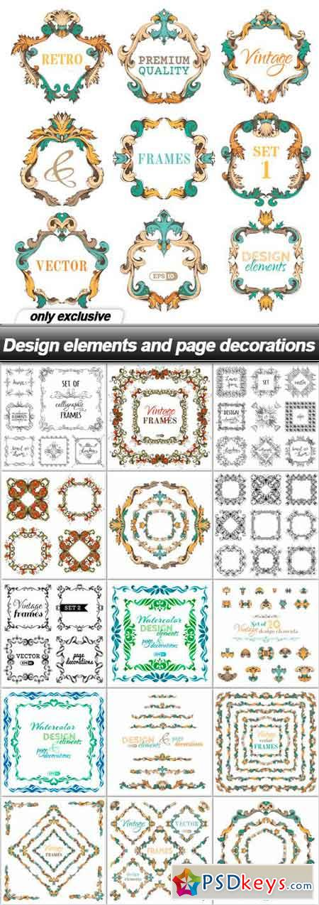 Design elements and page decorations - 16 EPS