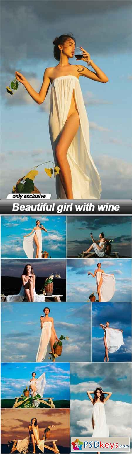Beautiful girl with wine - 10 UHQ JPEG
