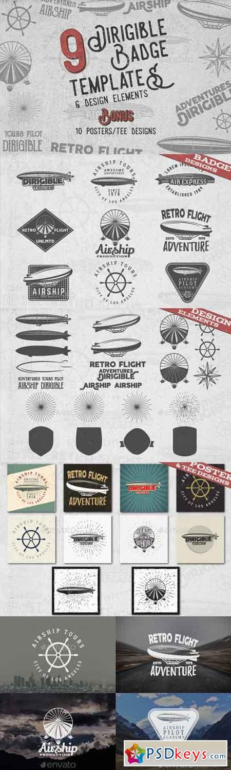 Dirigible Badges & Design Elements 16725988
