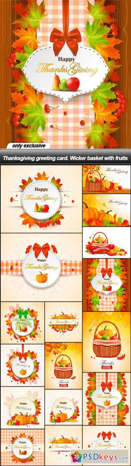 Thanksgiving greeting card. Wicker basket with fruits - 17 EPS