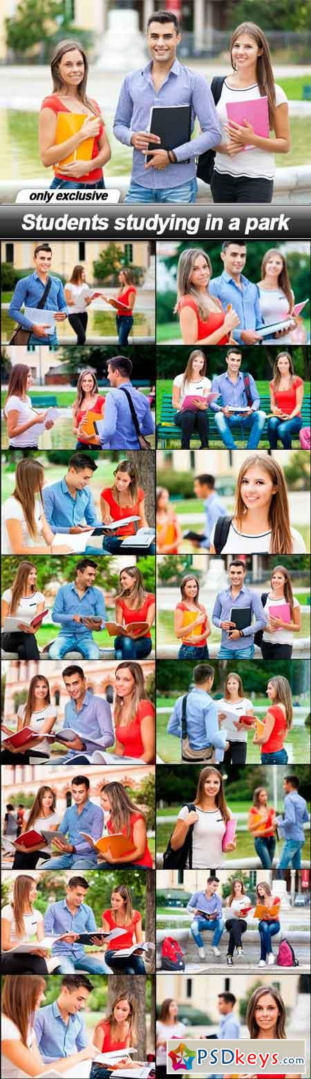 Students studying in a park - 16 UHQ JPEG