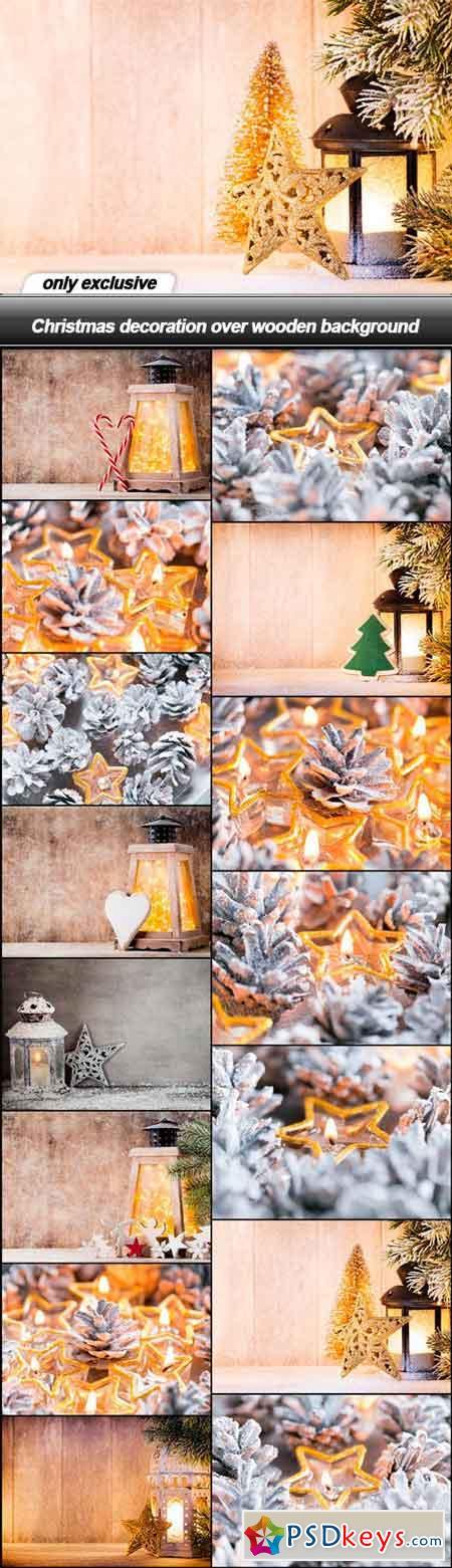 Christmas decoration over wooden background - 15 UHQ JPEG