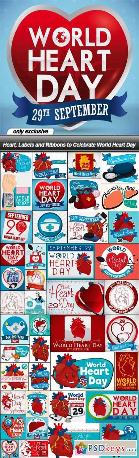 Heart, Labels and Ribbons to Celebrate World Heart Day - 42 EPS