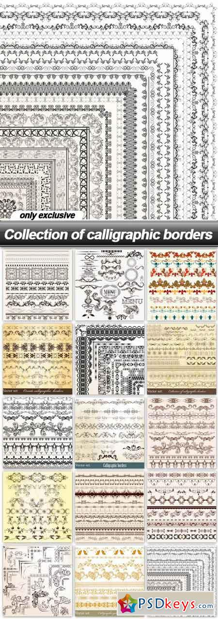 Collection of calligraphic borders - 15 EPS