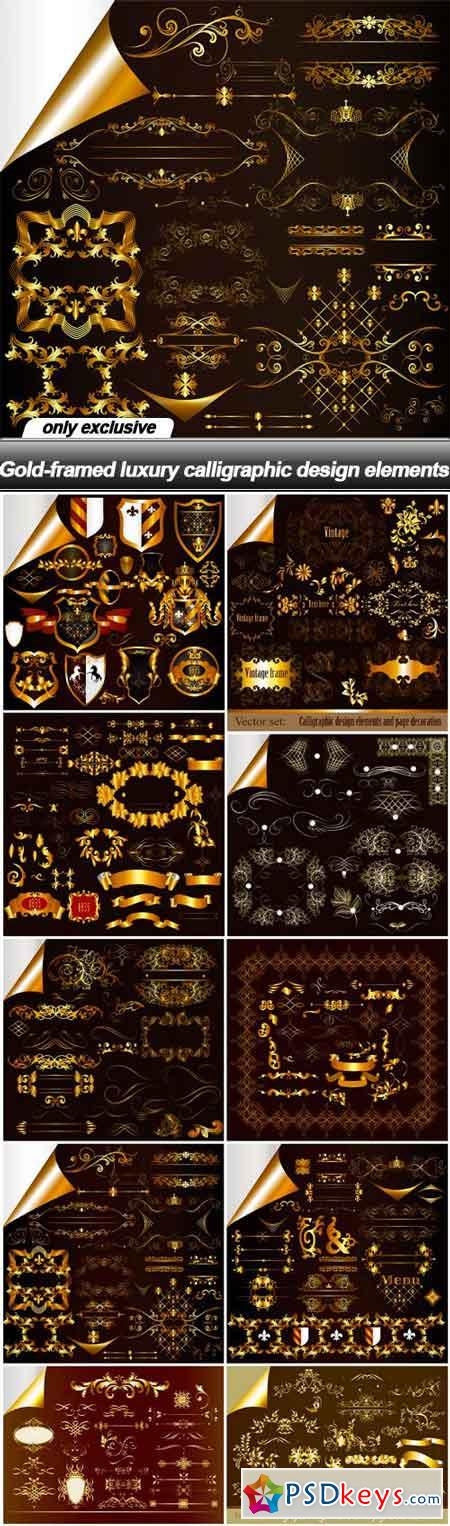 Gold-framed luxury calligraphic design elements - 10 EPS