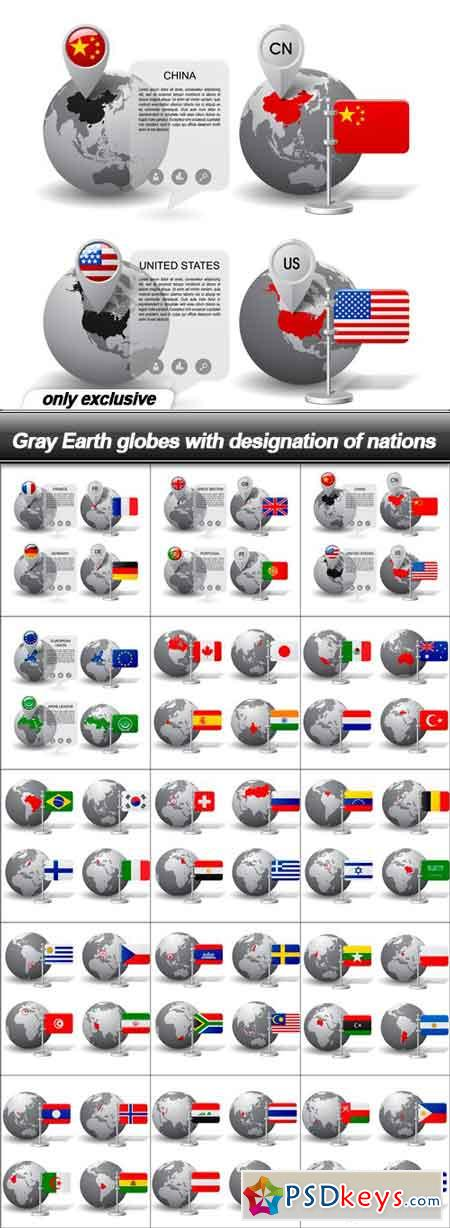Gray Earth globes with designation of nations - 15 EPS