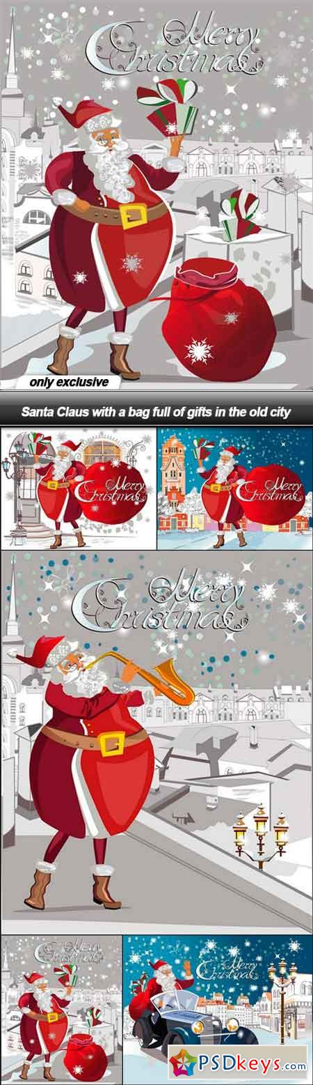 Santa Claus with a bag full of gifts in the old city - 5 EPS