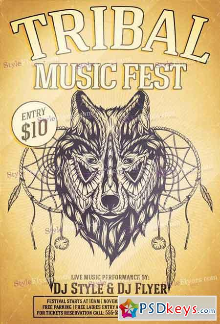 Tribal Music Fest PSD Flyer Template + Facebook Cover