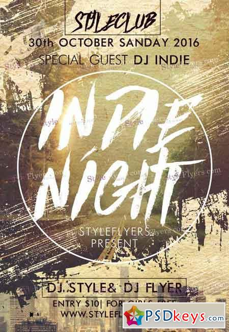 Indie Night PSD Flyer Template + Facebook Cover