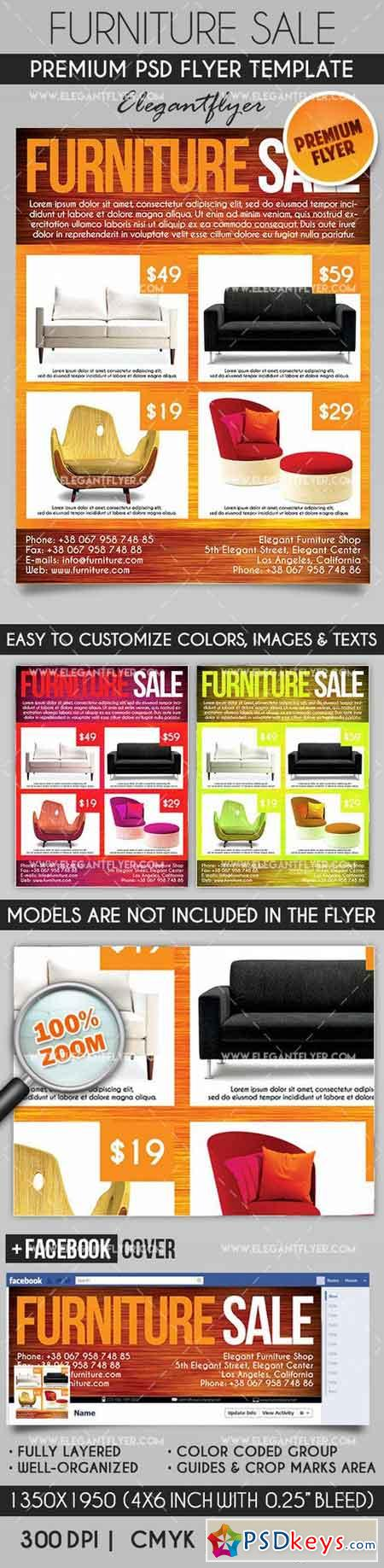 Furniture Sale – Flyer PSD Template + Facebook Cover